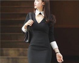 Korean women s dress à venda-Slim novo hit cor da costura de lapela pescoço pendurado vestido hip pacote de 2016 outono e inverno coreano das mulheres