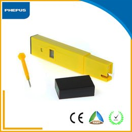 Wholesale PHEPUS Portable LCD Backlight Digital Plastic Housing and Yellow color Pen Type pH meter on sale and low price