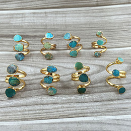 Gold Turquoise Rings, Adjustable Ring Triple Turquoise Gold Ring Gemstone Ring Natural stone Green Blue Turquoise Bohemain Rings