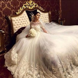 Arabic Luxury White Wedding Dresses Ivory Champagne Sheer Bateau Neckline Lace Appliques Tulle Bridal Gowns Custom Made High Quality
