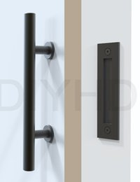 Wholesale Black Stainless Steel Barn Door Handle And Pull Wood Door Two side Black handle Door knob