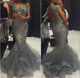 Elegant Grey Organza Mermaid Prom Dresses Scoop Capped SLEEVES Backless Formal Evening Gowns 2016 Vestidos Beaded Appliques Party Gowns
