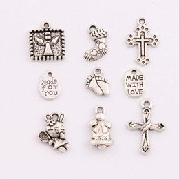 Wholesale 9styles Antique Silver Christmas Bell Sock Cross Rabbit Made With Love Spacer Charm Beads Pendants Jewelry DIY LM29
