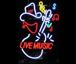 Promotion signes de cow-boy Live Music Cowboy Verre Réel Neon Light Sign Accueil Beer Bar Pub Salle de Jeux Salle de Jeux Windows Garage Mur Sign
