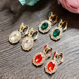 Luxury Crystal Beaded Colorful Earrings For Women Fashion Evening Party Earrings Women Jewelry Cheap Bridal Accessories Charming Jewelry