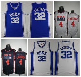 Wholesale Duke Blue Devils Christian Laettner Shirts Uniforms USA Dream Team Christian Laettner Jersey Fashion Team Color Navy Blue White