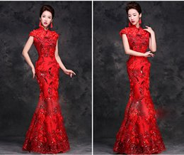 Wholesale 2015 New Elegant Tradition Long Chinese Dresses Cheongsam Lace Sequins Mermaid Bridal Gowns Evening Dresses Party Dresses