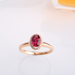 Wholesale Robira Women Oval Tourmaline Rings K Gold Diamond Gemstone Engagement Rings Wine Red Color Tourmaline Gift Rings