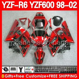 Wholesale 8gifts For YAMAHA YZFR6 Black flames red YZF600 YZF R6 YZF YZF R6 Red Fairing Kit Bodywork