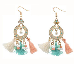 Wholesale New Bohemia Style Metal Pompom Earrings Women s Seed Beads Epoxy Tassel Earring Red Black Beige LT Blue Colors Hook Earring prs