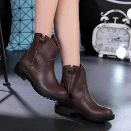 2016 Autumn Fashion Hiking Motorcycle Boots Short Ankle Boots Women Genuine Leather Shoes, Sz 35-40