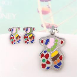 Wholesale Hot European Style Fashion Bear Pendant Earrings Necklace Suit Titanium Jewelry Manufacturer jewelry