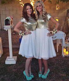 Cheap Champagne Gold Sequins Short Bridesmaid Dresses 2016 Knee Length Simple Chiffon Short Sleeves Beach Wedding Party Dresses