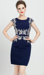 Vintage Embroidery Women Sheath Dress Round Neck OL Office Lady Work Dresses 0816146