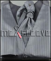 Promotion boutons de manchette de smoking Gros-Nouvelle arrivée bande argentée Gilet Hommes Set for Suit ou Tuxedo (veste + ascot + boutons de manchette + mouchoir)