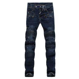 Wholesale 2016 fashion men balmaied jeans top quality balmans biker designer men jeans famous brand denim jeans