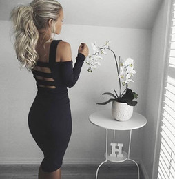 Wholesale 2016 Cocktail Dress Winter Women Dress Black Bandage Sleeve Hollow Out Off shoulder Knee length In The Height Celebrity Gown Lane