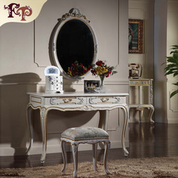 French provincial furniture -Luxury European royalty classic bedroom furniture set - cracking paint dressing table and mirror