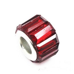 50PCS Lot Beautiful Dark Red Resin Rhinestone Charms Silver core European Big Hole Beads for Jewelry Making Low Price
