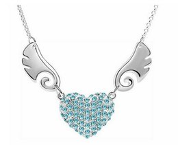 Angel Wings Heart Necklace Jewelry Fashion Full Rhinestone Necklace For Women Best Gift 6 colors 10pcs min order B68