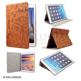Wholesale IPad Case KAKU Painted pattern Stand Flip Cover Auto Wake Sleep PU Case For iPad Pro air ipad mini with package