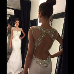 Mermaid Prom Dresses 2016 Scoop Sleeveless Backless Sweep Train Chiffon and Crystal White Party Dresses Sexy Formal Gowns