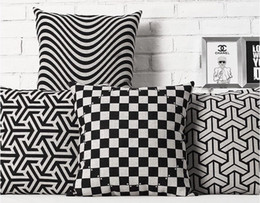 Rotate The Pattern Striped Black And White Pillow Massager Decorative Pillows Euro Case Emoji Gift Home Decor