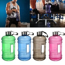 Wholesale New L Big Large BPA Free Sport Gym Training Drink Water Bottle Cap Kettle Workout Portable PETG Material Bicycle bottles Colors