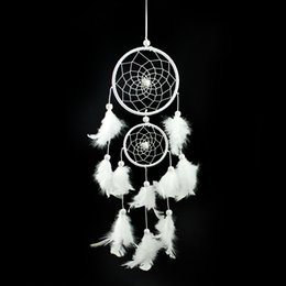 Wholesale White Feather Dream Catcher Ornaments Creative Home Decors Craft For House Window Double Circle Dreamcathers Oranments Gift