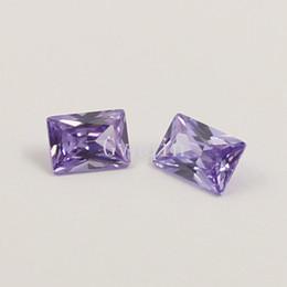 3x5mm-7x9mm AAA cubic zirconia lavender rectangle princess cut loose gem stones
