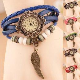 Wholesale Luxury Leather Lady Watches Women Dress Wristwatch Casual Wing Pendant Vine female Bangle Clock Bracelet for Girls pulsera