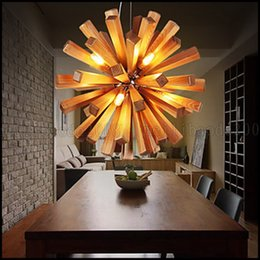 Wholesale Pendant Lights LED Bulb Included Country Living Room Bedroom Dining Room Study Room Office Wood Bamboo LLWA128