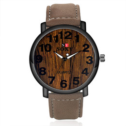 Wholesale Fashion Watch High Quality Brand SOXY Simulation Wooden Men Watches Wood Color Leather Strap Watch Antique Wrist watches Clock Men Watches