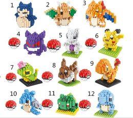 Poke pikachu 3D puzzle building blocks Diamond blocks Pokémon go intelligence educational toys Birthday gifts with gift box