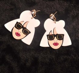 Fashion Punk Style Personality Big Acrylic Lady Head Drop Earrings For Women Club Jewelry Accessories Wholesale