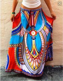 Women lady long skirts Real photo Elastic waist Double Flouncing Wild Pleated Beach Maxi Full Length skirts