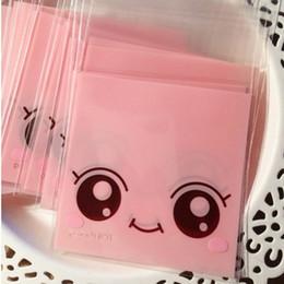Impression poly à vendre-100pcs / lot Mignon Big Eyes Rose Imprimer Self Adhesive Poly OPP Emballage cadeau Sac Pour Bonbons et biscuits Emballage sacs BZ042