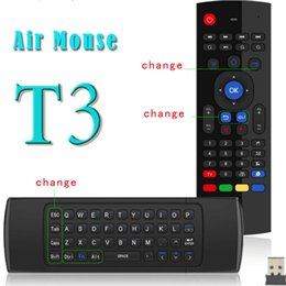 Wholesale USA DHL Free Ship Newest GHz Fly Air Mouse Mini Keyboard T3 Wireless Remote Controller with Mic Voice VS MX3 X8 Axis Gyroscope