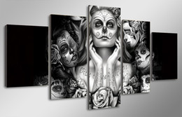 5 Pcs HD Printed Day of the Dead Face Painting on canvas room decoration print poster picture canvas wall picture sets fram