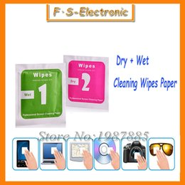 Wholesale 400pcs set Camera Lens Phone LCD Screen Dust Removal Dry Wet Cleaning Wipes Paper tools Set alcohol package for iPhone s