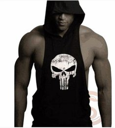 2016 Summer fashion sports shirts for men sleeveless gym waistcoat men shirts with cap skull shirts men vest