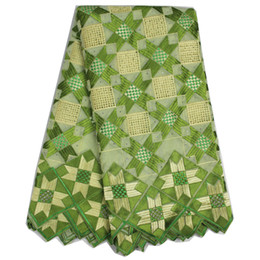 2016 Fashion Lemon Green Swiss cotton lace African Voile lace fabric for dress with rhinestones AR31