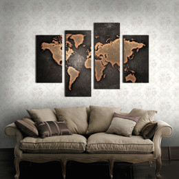 4 Paenl World Map Black Background Wall Art Painting Pictures Print On Canvas Art For Home Modern Decoration with Wooden Frame Ready to Hang