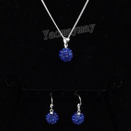 Wholesale Royal Blue Disco Ball Pendant Earrings And Necklace For Girls Rhinestone Shamballa Jewellery Set Sets