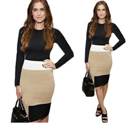 Wholesale 2016 Elegant Long Sleeve Jewel Dresses Knee Length Dresses Color Block Women Dresses Cheap Party Dresses