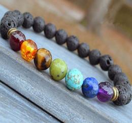 Wholesale 8mm Nature Black Lava Beaded Bracelet Energy Stone Bracelet Hamsa Hand Bangle Charm Yoga Mala Bracelets
