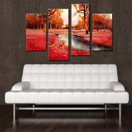 4 Panel Brown Wall Art Painting Deer In Autumn Forest Pictures Prints On Canvas Animal Picture Home Decor with Wooden Framed Ready to Hang