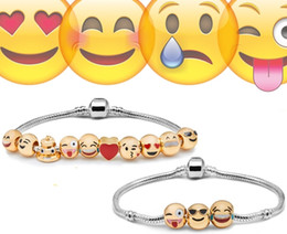 Wholesale Emoji Charms Bracelet Newest Fashion Emoji Bracelet Beaded Strands Smile K Gold Plate Alloy Bracelets Christmas Gift