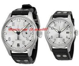 Top Quality Luxury Wristwatch Big Pilot Rhodium Dial bracelet en cuir Père et Ensemble montre Père de Son Hommes: 46,2 mm. Son: 39 mm Quartz Mens pilot leather strap deals à partir de bracelet en cuir pilote fournisseurs