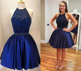 Real Image Short Homecoming Dresses 2019 New Navy Blue Halter Top With Exquisite Crystal Girls Party Gown Cocktail Dresses Custom Made Cheap